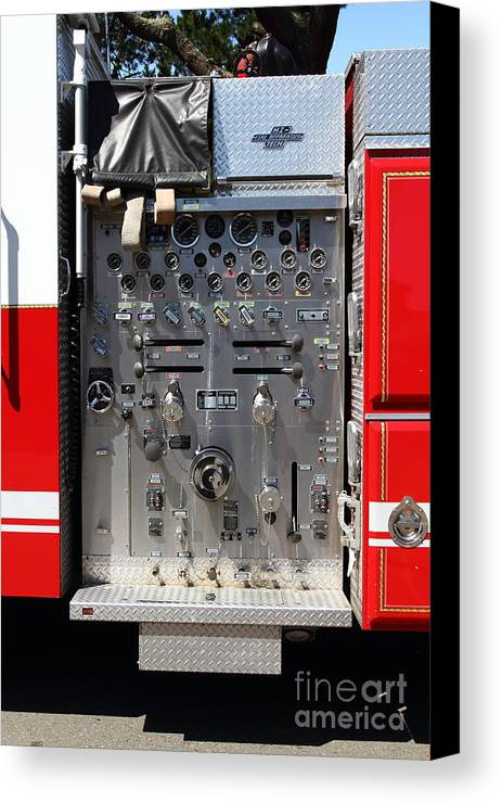 Kensington Canvas Print featuring the photograph Kensington Fire District Fire Engine Control Panel . 7d15856 by Wingsdomain Art and Photography
