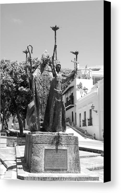 Old San Juan Canvas Print featuring the photograph La Rogativa Sculpture Old San Juan Puerto Rico Black And White by Shawn O'Brien