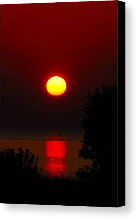 Sunrise Canvas Print featuring the photograph Lake Superior Sunrise by Janice Adomeit