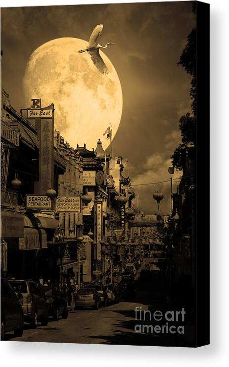 Black And White Canvas Print featuring the photograph Legend Of The Great White Phoenix Of Chinatown . 7d7172 . Sepia by Wingsdomain Art and Photography