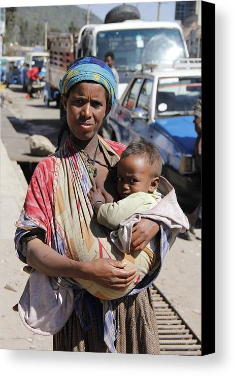 Mother Canvas Print featuring the painting Madonna Of Addis Ababa by Robert SORENSEN