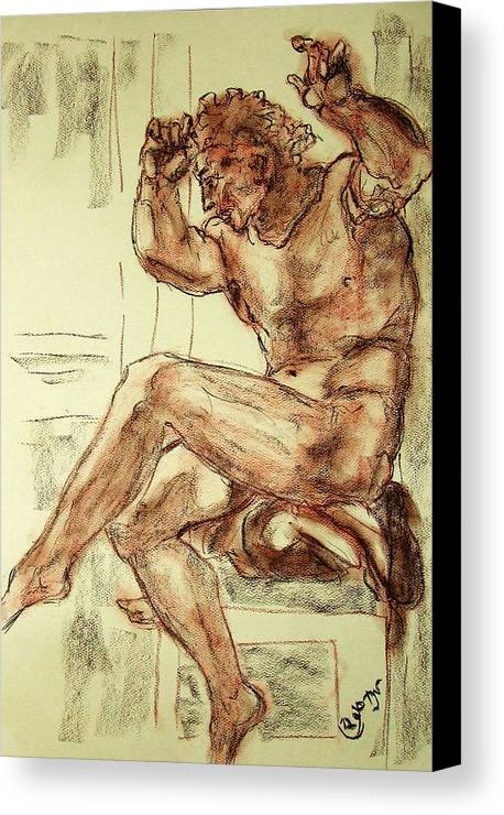 Male Canvas Print featuring the drawing Male Nude Figure Drawing Sketch With Power Dynamics Struggle Angst Fear And Trepidation In Charcoal by MendyZ M Zimmerman