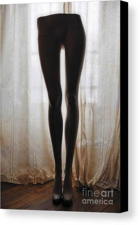 Mystery Canvas Print featuring the photograph Mannequin Legs Standing By Window by Sami Sarkis