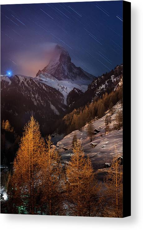 Vertical Canvas Print featuring the photograph Matterhorn With Star Trail by Coolbiere Photograph