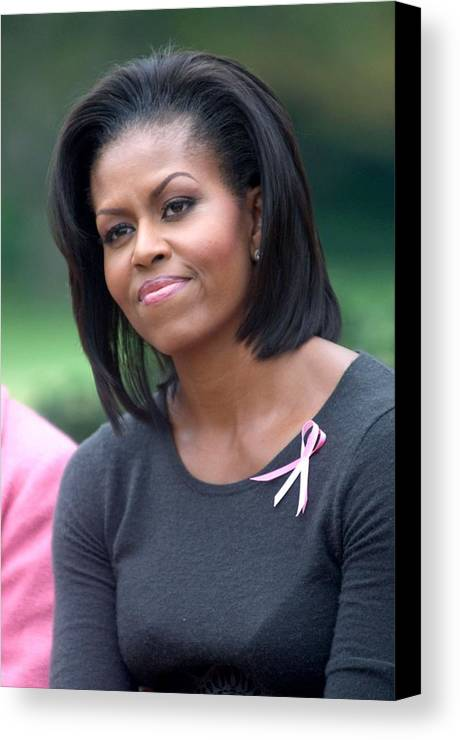 Michelle Obama Canvas Print featuring the photograph Michelle Obama At The Press Conference by Everett