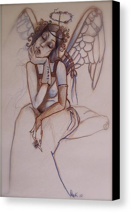 Angel Blues Canvas Print featuring the drawing Missing Him by Jackie Rock