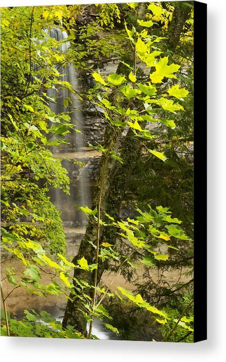 Fall Canvas Print featuring the photograph Munising Falls 4 by John Brueske