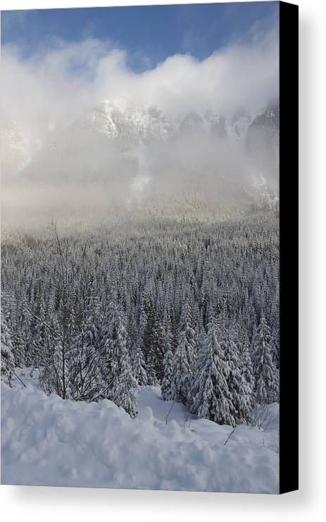 Snow Canvas Print featuring the photograph Mystic Peaks by Sylvia Hart
