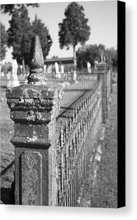 Graveyard Canvas Print featuring the photograph Old Graveyard Fence In Black And White by Kathy Clark