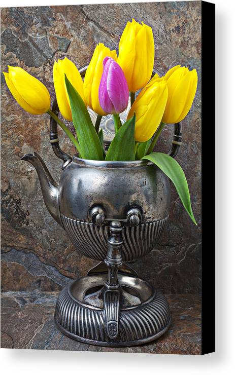 Old Tea Pot Canvas Print featuring the photograph Old Tea Pot And Tulips by Garry Gay