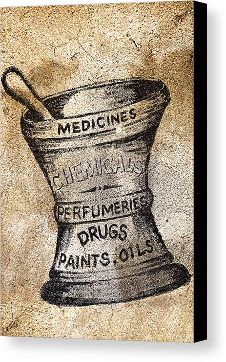 Public Canvas Print featuring the photograph Old Time Medicine Ad by Wendy White