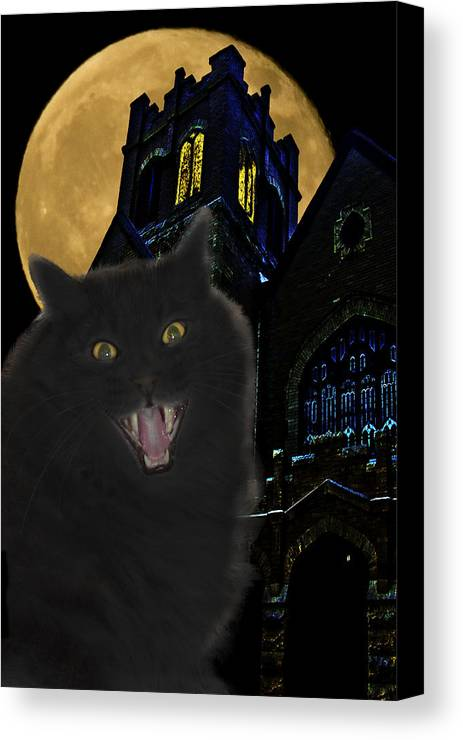 Black Cat Canvas Print featuring the photograph One Dark Halloween Night by Shane Bechler