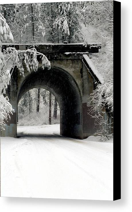 Winter Canvas Print featuring the photograph One Lane by Sharon Elliott