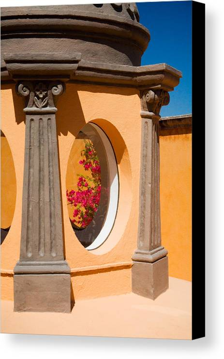 Bougainvillea Canvas Print featuring the photograph Oval Floral Peek by Eggers Photography