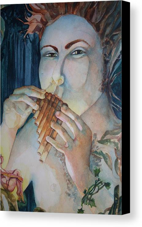 Pan Flute Fife Fairy Mid Summer Nights Dream Canvas Print featuring the drawing Pan 2 by Jackie Rock