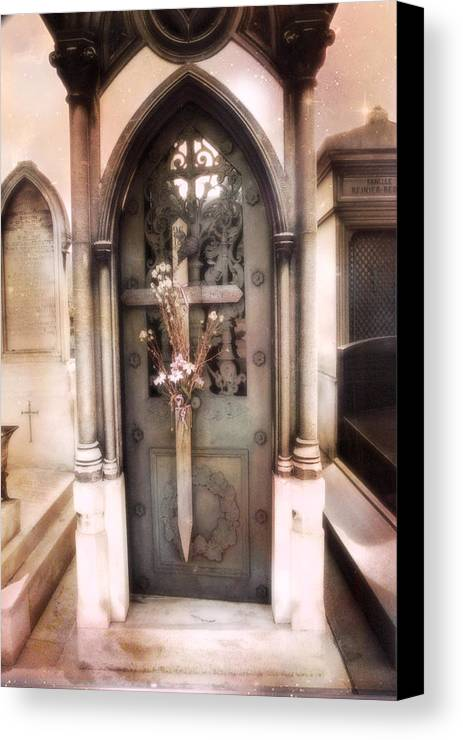 Paris Dreamy Fine Art Canvas Print featuring the photograph Pere La Chaise Cemetery Ornate Mausoleum by Kathy Fornal