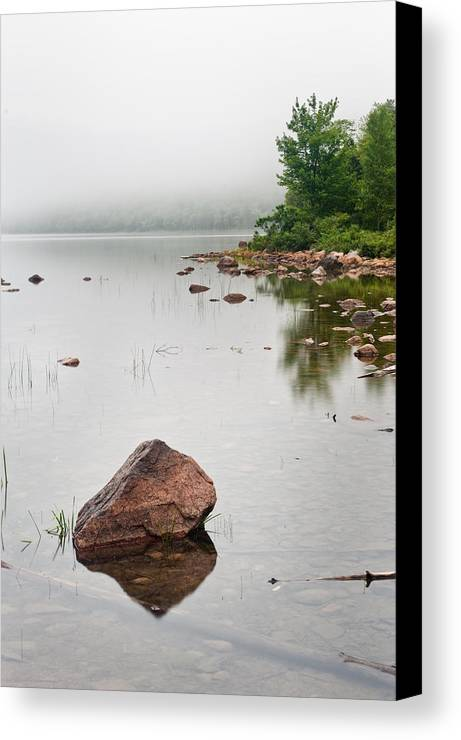 Maine Canvas Print featuring the photograph Pink Granite In Jordan Pond At Acadia by Steve Gadomski