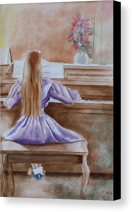 Child Canvas Print featuring the painting Practice Makes Perfect by Patsy Sharpe