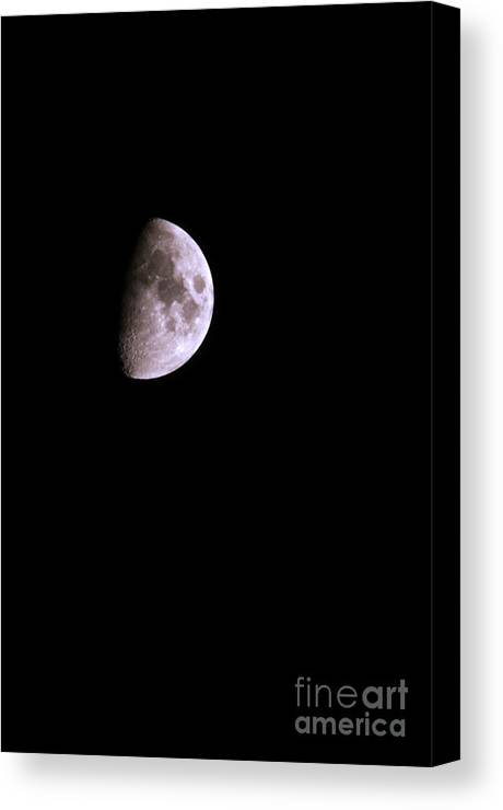 Moon Canvas Print featuring the photograph Quarter Moon by Laura Mountainspring