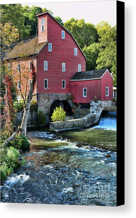 Paul Ward Canvas Print featuring the photograph Red Mill On The Water by Paul Ward