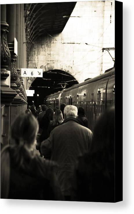 Train Canvas Print featuring the photograph Rush Hour by John Lemon