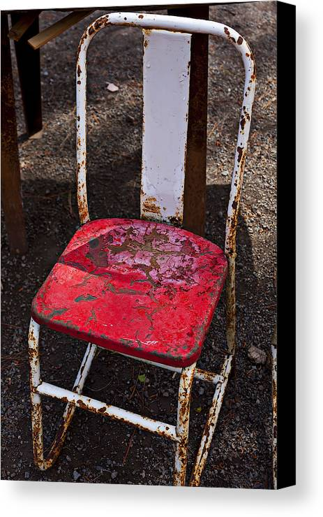 Chair Canvas Print featuring the photograph Rusty Metal Chair by Garry Gay