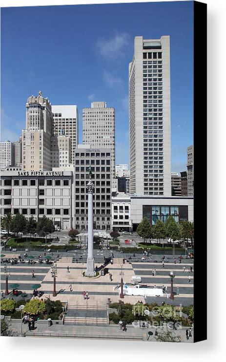 San Francisco Canvas Print featuring the photograph San Francisco - Union Square - 5d17941 by Wingsdomain Art and Photography