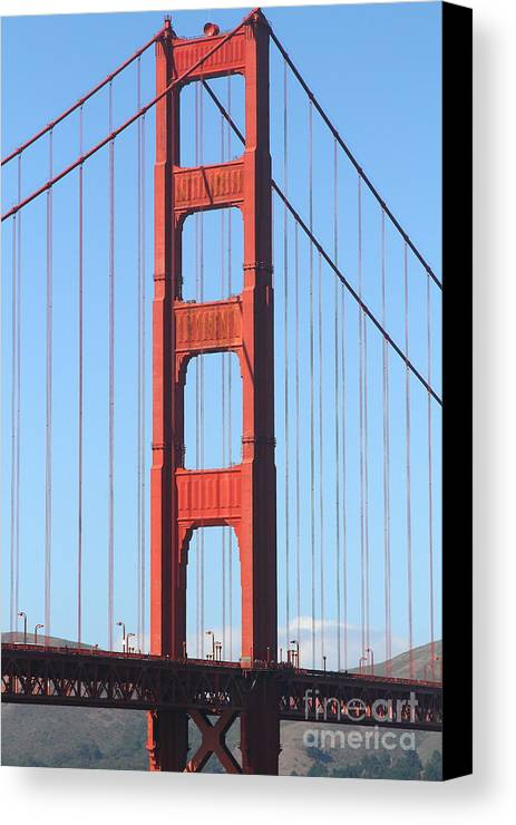 San Francisco Canvas Print featuring the photograph San Francisco Golden Gate Bridge . 7d7804 by Wingsdomain Art and Photography