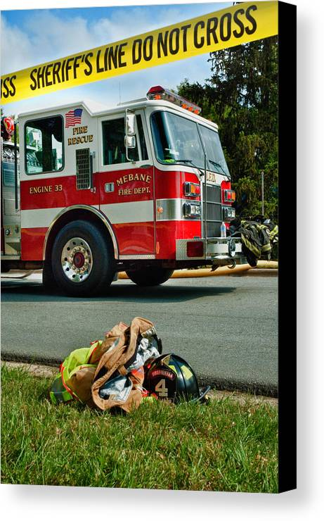 Firefighter Canvas Print featuring the photograph Saving The Day by Rafe Martin