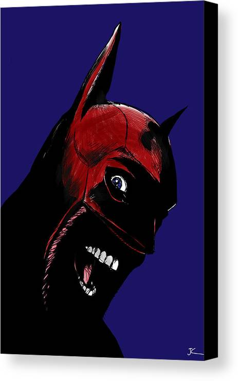 Superhero Canvas Print featuring the drawing Screaming Superhero by Giuseppe Cristiano