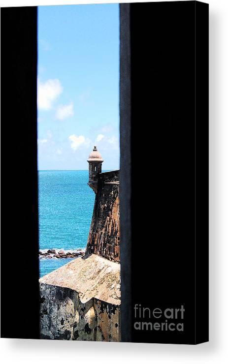 El Morro Canvas Print featuring the digital art Sentry Tower View Castillo San Felipe Del Morro San Juan Puerto Rico Ink Outlines by Shawn O'Brien