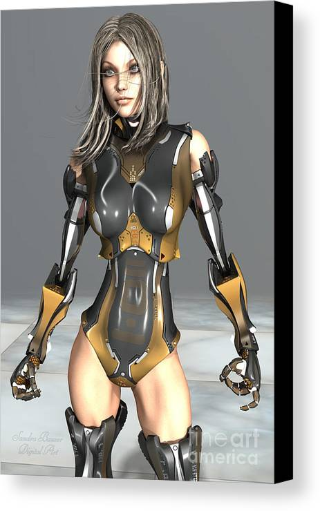 Cyborg Canvas Print featuring the digital art She-borg by Sandra Bauser Digital Art
