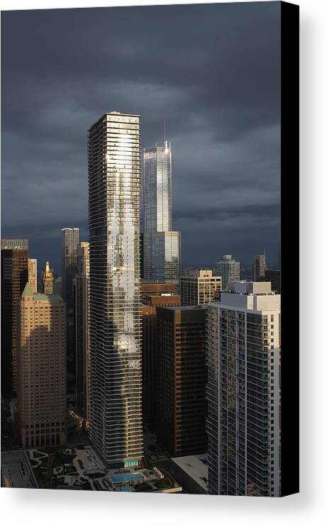 City Canvas Print featuring the photograph Silvery City Gloom by Gregory Lafferty