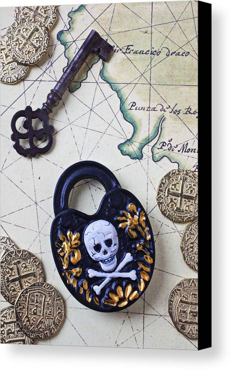 Lock Canvas Print featuring the photograph Skull And Cross Bones Lock by Garry Gay