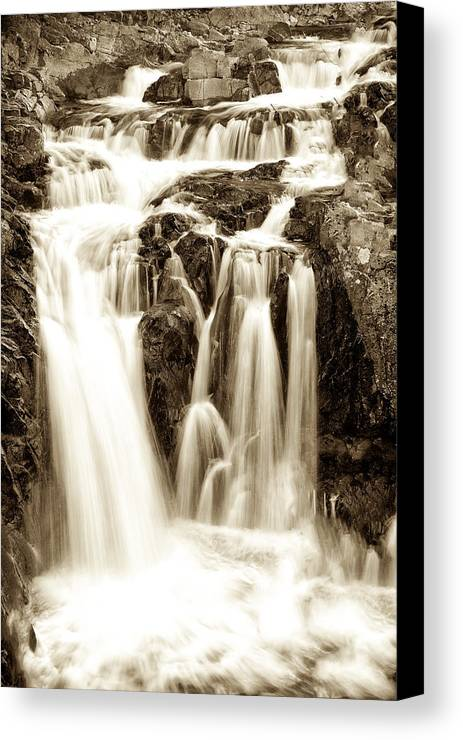 Fall Foliage Canvas Print featuring the photograph Split Rock Falls Black And White 6665 by Ken Brodeur