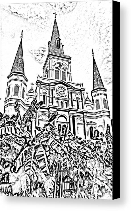Travelpixpro New Orleans Canvas Print featuring the digital art St Louis Cathedral Rising Above Palms Jackson Square New Orleans Photocopy Digital Art by Shawn O'Brien