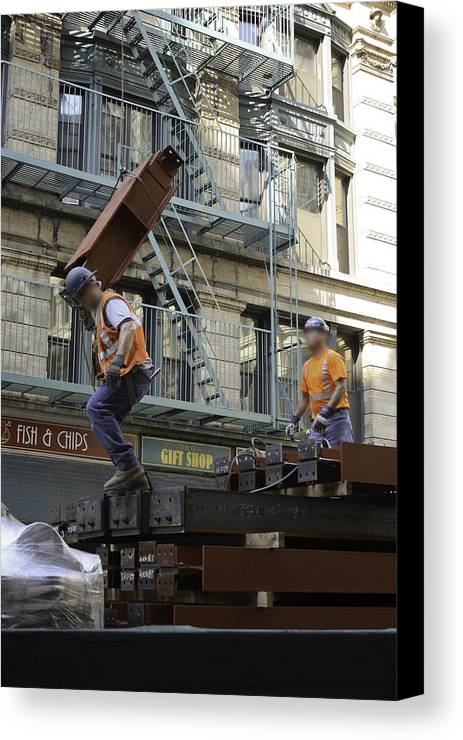Men Canvas Print featuring the photograph Steel And Girders by Cathy Brown