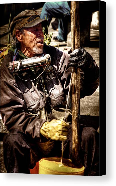 Street Musician Canvas Print featuring the photograph Street Symphony by David Patterson