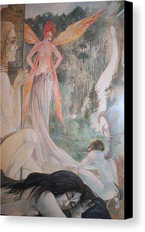 Fairies Demons Dreams Sleep  Canvas Print featuring the drawing The Exile by Jackie Rock