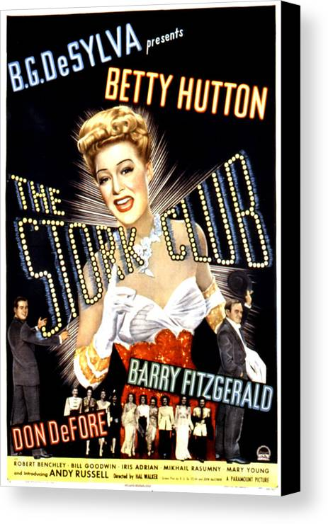1940s Movies Canvas Print featuring the photograph The Stork Club, Don Defore, Betty by Everett