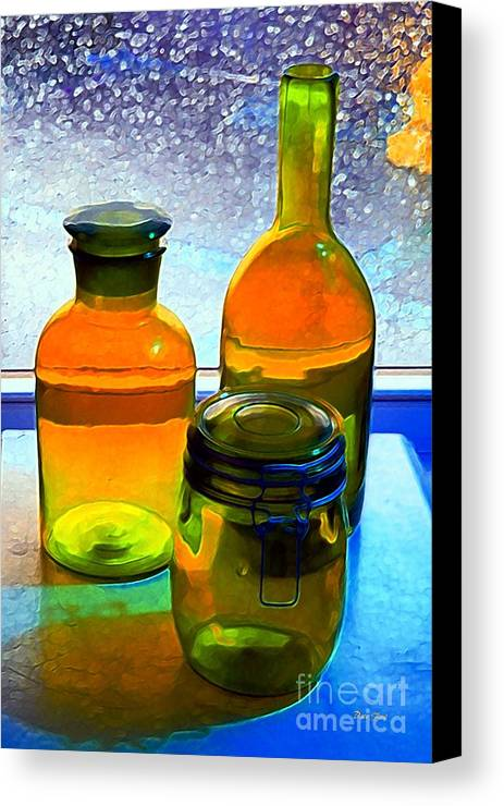 Bottles Canvas Print featuring the digital art Three Bottles In Window by Dale  Ford
