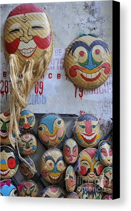 Variation Canvas Print featuring the photograph Vietnamese Bamboo Masks For Sale by Sami Sarkis