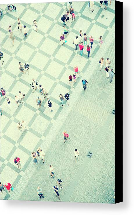 Vertical Canvas Print featuring the photograph Walking People by Carlo A