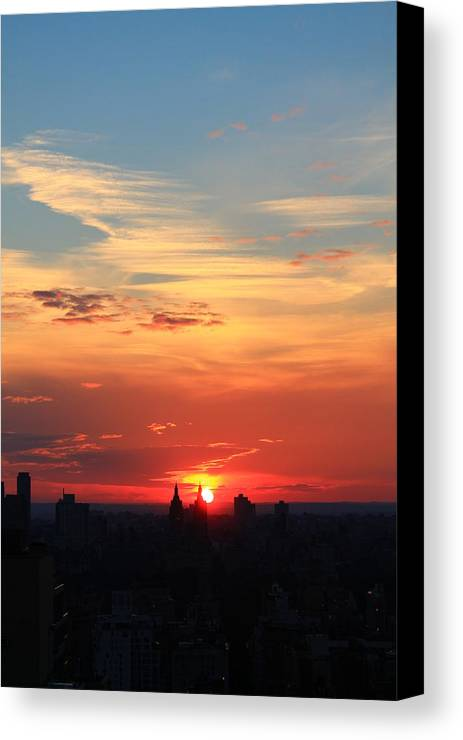 Sunset Canvas Print featuring the photograph Water Color Sky by Catie Canetti