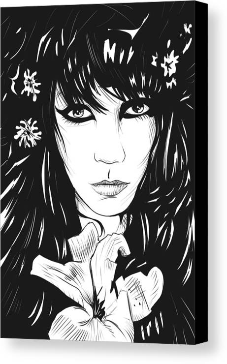 Woman Canvas Print featuring the drawing Woman With Flower by Giuseppe Cristiano