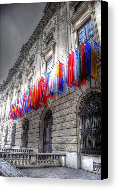 Prague Czech Republic Canvas Print featuring the digital art World Flags by Barry R Jones Jr