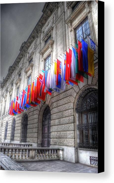 Prague Czech Republic Canvas Print featuring the digital art World Flags by Barry R Jones Jr