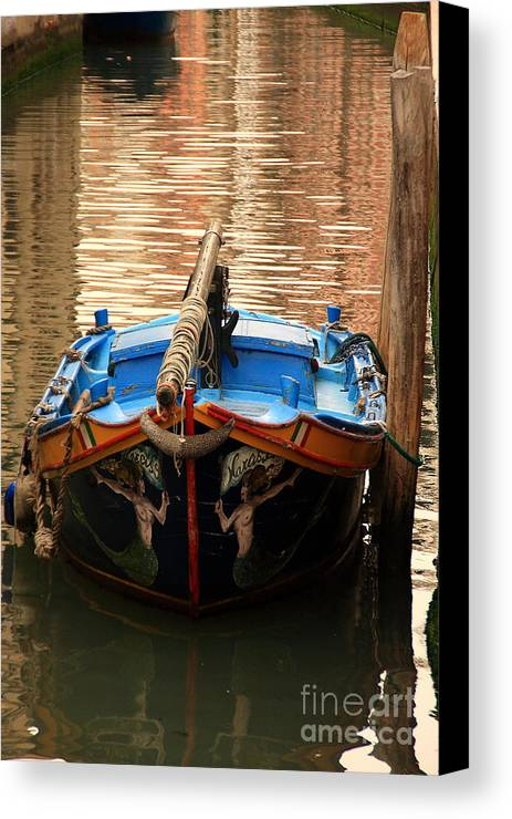 Venice Canvas Print featuring the photograph Boat On Canal In Venice by Michael Henderson