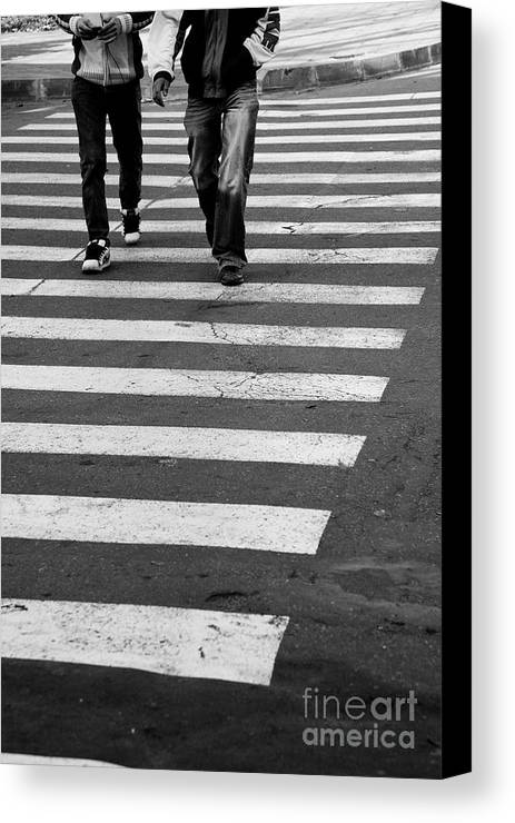 Crosswalk Canvas Print featuring the photograph Crossing by Gabriela Insuratelu