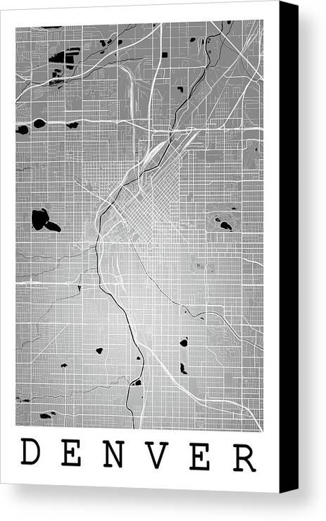 Denver Street Map - Denver Colorado Usa Road Map Art On Color Canvas ...